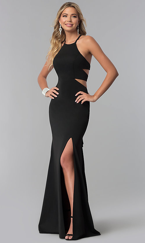 Image of long prom dress with lace-up corset back. Style: NA-C026 Detail Image 2