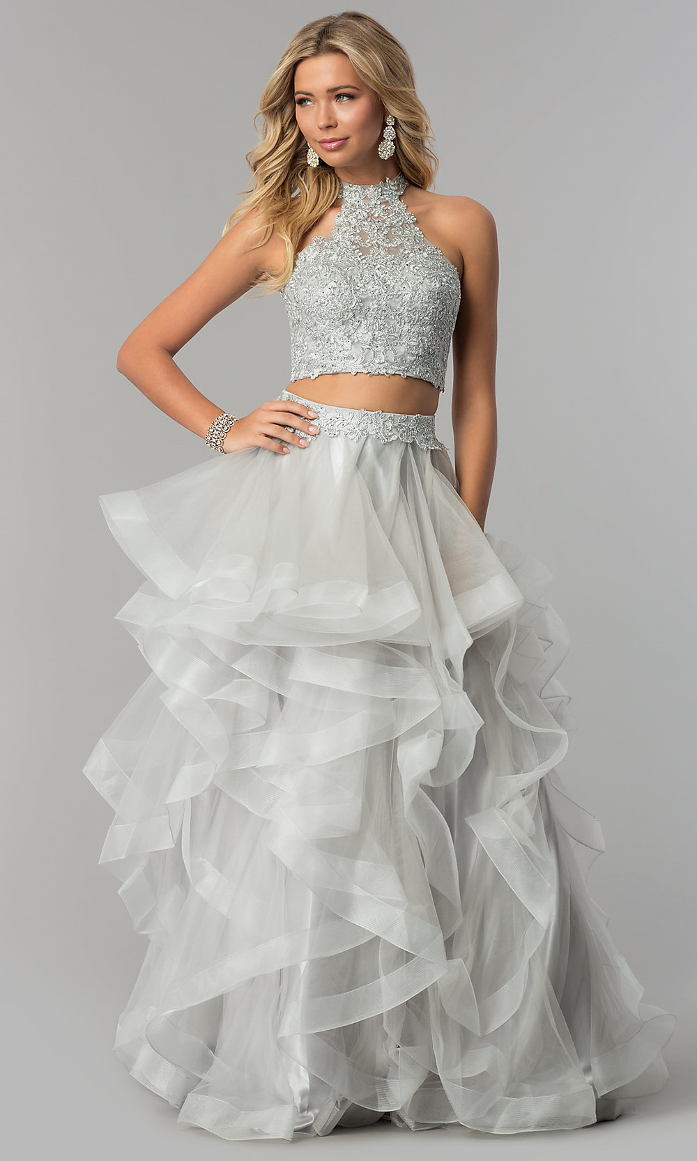 b7e9364a070d Image of long two-piece open-back embellished prom dress. Style: NA. Tap to  expand