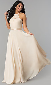 Image of high-neck long chiffon prom dress with corset back. Style: NA-Y102 Detail Image 1