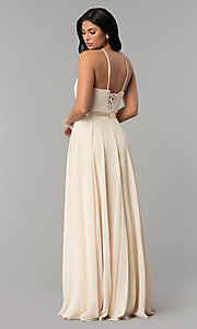 Image of high-neck long chiffon prom dress with corset back. Style: NA-Y102 Detail Image 2