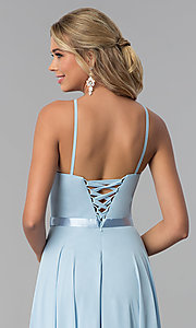 Image of high-neck long chiffon prom dress with corset back. Style: NA-Y102 Detail Image 4