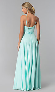 Image of high-neck long chiffon prom dress with corset back. Style: NA-Y102 Detail Image 6