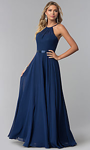 Image of high-neck long chiffon prom dress with corset back. Style: NA-Y102 Front Image