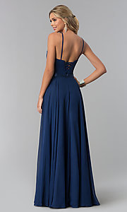 Image of high-neck long chiffon prom dress with corset back. Style: NA-Y102 Back Image