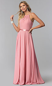 Image of high-neck long chiffon prom dress with corset back. Style: NA-Y102 Detail Image 7