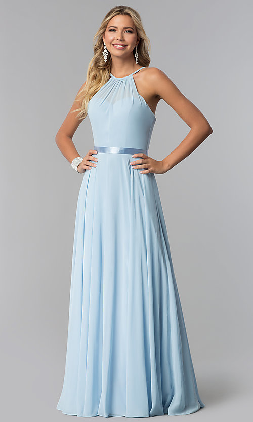 Image of high-neck long chiffon prom dress with corset back. Style: NA-Y102 Detail Image 3