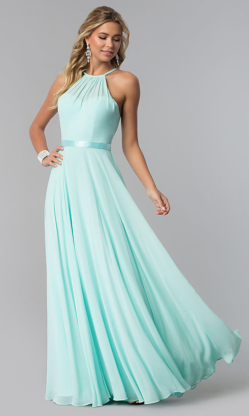 Image of high-neck long chiffon prom dress with corset back. Style: NA-Y102 Detail Image 5