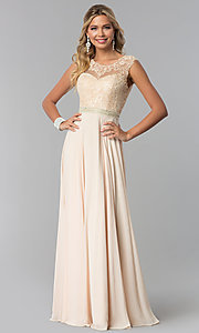 Image of lace-bodice long chiffon formal dress with cut out. Style: NA-Y101 Front Image