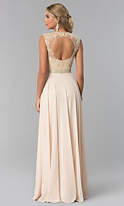 Image of lace-bodice long chiffon formal dress with cut out. Style: NA-Y101 Back Image
