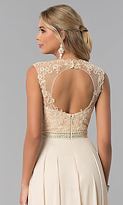 Image of lace-bodice long chiffon formal dress with cut out. Style: NA-Y101 Detail Image 4