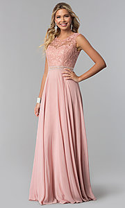 Image of lace-bodice long chiffon formal dress with cut out. Style: NA-Y101 Detail Image 1