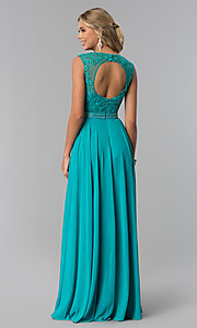 Image of lace-bodice long chiffon formal dress with cut out. Style: NA-Y101 Detail Image 6