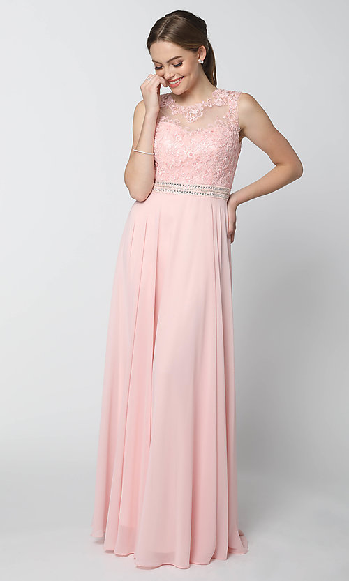 Image of lace-bodice long chiffon formal dress with cut out. Style: NA-Y101 Detail Image 7