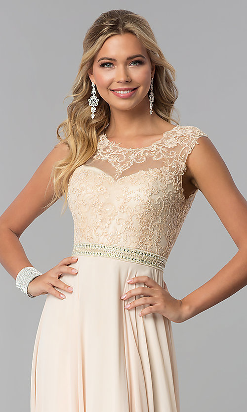 Image of lace-bodice long chiffon formal dress with cut out. Style: NA-Y101 Detail Image 3