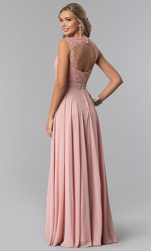 Image of lace-bodice long chiffon formal dress with cut out. Style: NA-Y101 Detail Image 2
