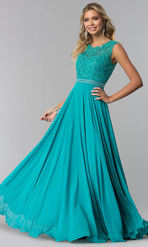 Image of lace-bodice long chiffon formal dress with cut out. Style: NA-Y101 Detail Image 5