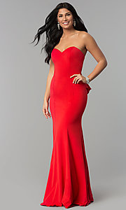 Image of long strapless prom dress with sweetheart neckline. Style: NA-E002 Front Image