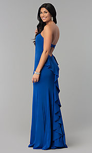 Image of long strapless prom dress with sweetheart neckline. Style: NA-E002 Back Image