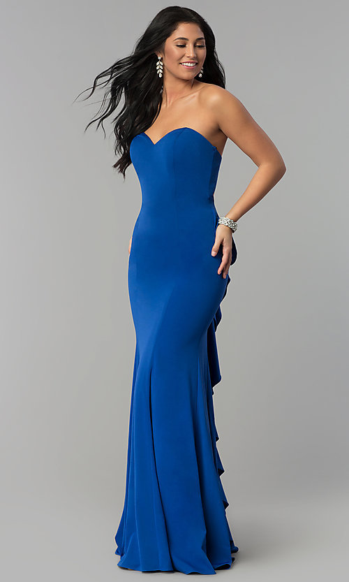 Image of long strapless prom dress with sweetheart neckline. Style: NA-E002 Detail Image 3