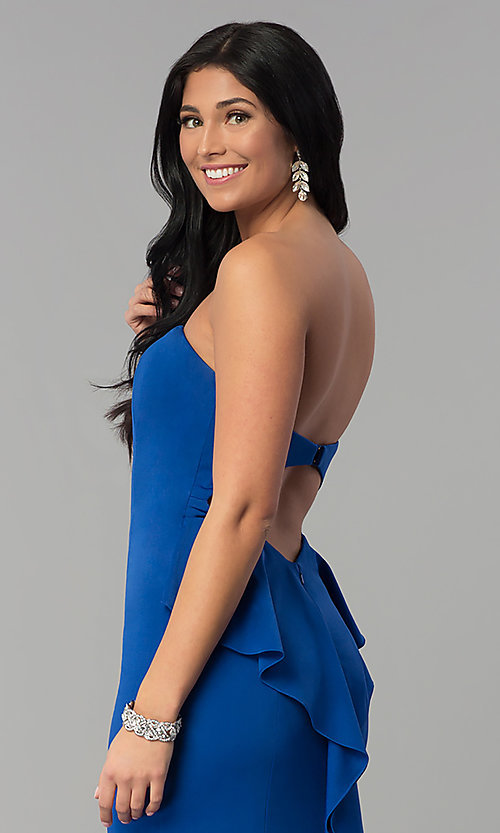 Image of long strapless prom dress with sweetheart neckline. Style: NA-E002 Detail Image 2
