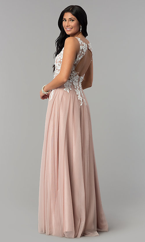 Image of lace-applique-bodice long prom dress. Style: NA-G048 Back Image