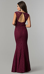 Image of lace sweetheart long wedding guest open-back dress. Style: LP-PL-25066 Back Image