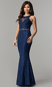 Image of mock-two-piece lace long prom dress in navy blue. Style: LP-PL-27348 Front Image