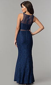 Image of mock-two-piece lace long prom dress in navy blue. Style: LP-PL-27348 Back Image