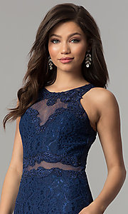 Image of mock-two-piece lace long prom dress in navy blue. Style: LP-PL-27348 Detail Image 1