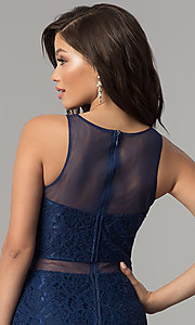 Image of mock-two-piece lace long prom dress in navy blue. Style: LP-PL-27348 Detail Image 2