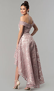Image of high-low embroidered off-the-shoulder prom dress. Style: LP-PL-25467 Back Image