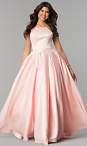Image of long high-neck satin prom dress with pockets. Style: PO-8272 Detail Image 3