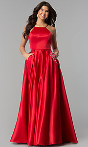 Image of long high-neck satin prom dress with pockets. Style: PO-8272 Detail Image 2