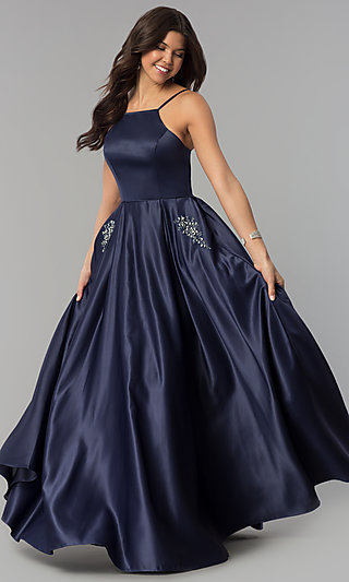 Long High-Neck Satin Prom Dress with Pockets