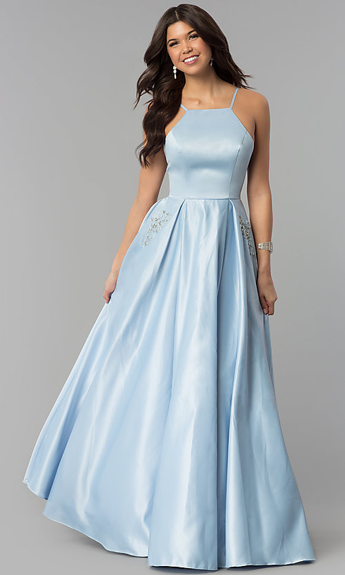 Image of long high-neck satin prom dress with pockets. Style: PO-8272 Detail Image 1