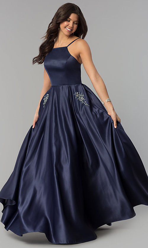 Image of long high-neck satin prom dress with pockets. Style: PO-8272 Front Image
