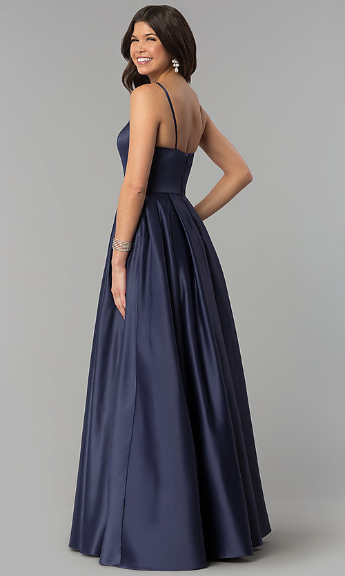 Image of long high-neck satin prom dress with pockets. Style: PO-8272 Back Image