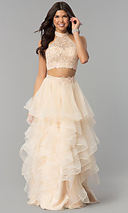 Image of two-piece long tiered champagne prom dress. Style: PO-8240 Front Image