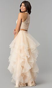 Image of two-piece long tiered champagne prom dress. Style: PO-8240 Back Image