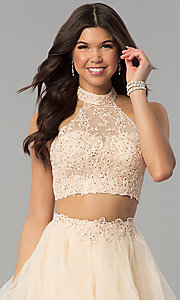 Image of two-piece long tiered champagne prom dress. Style: PO-8240 Detail Image 1