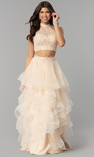 Two-Piece Long Tiered Champagne Prom Dress