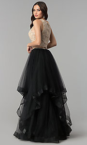 Image of two-piece long prom dress with lace embroidery. Style: PO-8176 Back Image