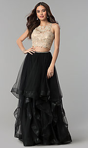Image of two-piece long prom dress with lace embroidery. Style: PO-8176 Detail Image 2