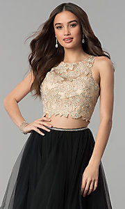 Image of two-piece long prom dress with lace embroidery. Style: PO-8176 Detail Image 3