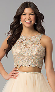 Image of two-piece long prom dress with lace embroidery. Style: PO-8176 Detail Image 1