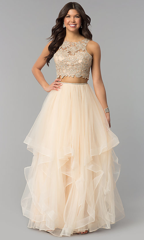Image of two-piece long prom dress with lace embroidery. Style: PO-8176 Front Image