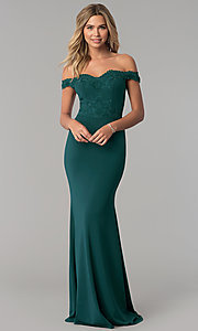 Image of long off-the-shoulder embroidered-lace prom dress. Style: PO-8246 Detail Image 2