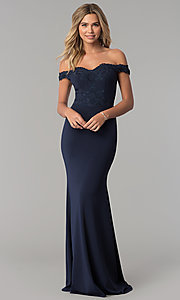 Image of long off-the-shoulder embroidered-lace prom dress. Style: PO-8246 Front Image
