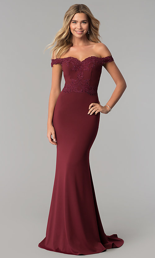 Image of long off-the-shoulder embroidered-lace prom dress. Style: PO-8246 Detail Image 1
