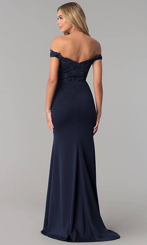 Image of long off-the-shoulder embroidered-lace prom dress. Style: PO-8246 Back Image